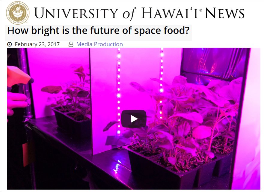 Screen shot from UH video about Spring 2016 Space Grant Fellow, Aleca Borsuk's plant project with Dr. Kobayashi.